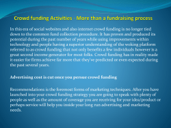 Crowd funding Activities - More than a fundraising process