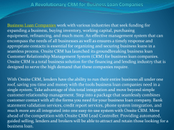 A Revolutionary CRM for Business Loan Companies