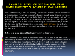 A couple of things you must deal with before filing bankruptcy as outlined by Brain Linnekens