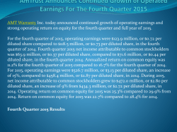 AmTrust Announces Continued Growth of Operated Earnings For The Fourth Quarter 2015