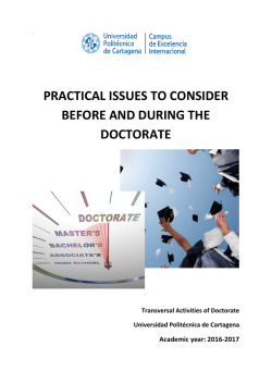 Practical issues to consider before and during the doctorate