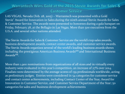 Warrantech Wins Gold at the 2015 Stevie Awards for Sales & Customer Service