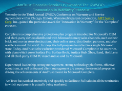 "AmTrust Financial Services Is awarded The GWSCA's ""Innovation in Warranty"" Honour"