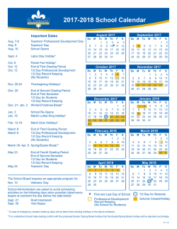 2017-2018 Calendar - St. Tammany Parish School Board
