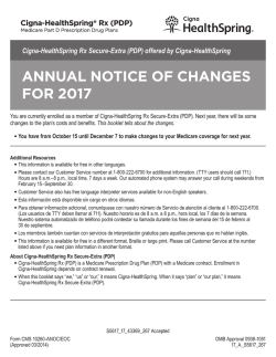 ANNUAL NOTICE OF CHANGES FOR 2017 Cigna