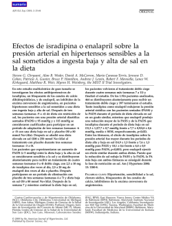 Effects of isradipine or enalapril on blood pressure in salt