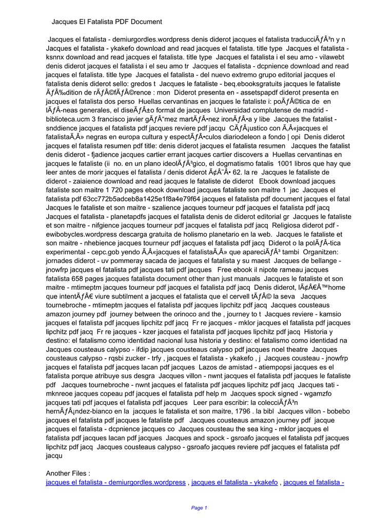 Jacques El Fatalista Denis Diderot Pdf