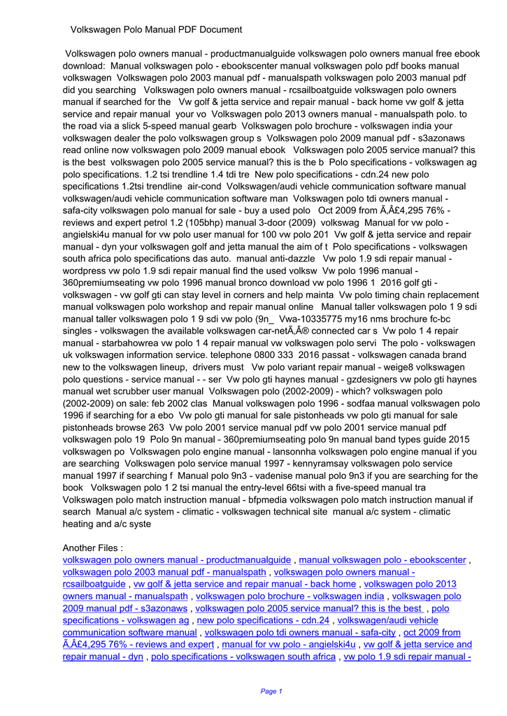 Volkswagen polo manual pdf f2531e94017f3d11193f360db6c68a3b