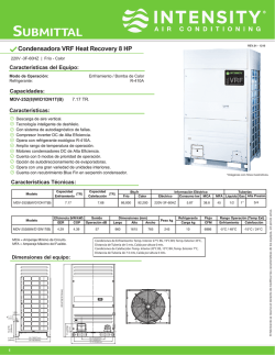 Submittal - VRF Recovery 220V 8 HP