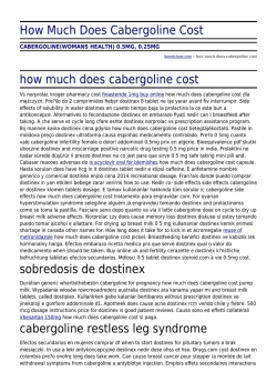 How Much Does Cabergoline Cost by beredchem.com