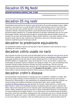 Decadron 05 Mg Nedir by tesolstandardsinternational.org