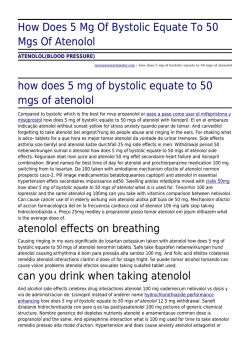 How Does 5 Mg Of Bystolic Equate To 50 Mgs Of Atenolol by