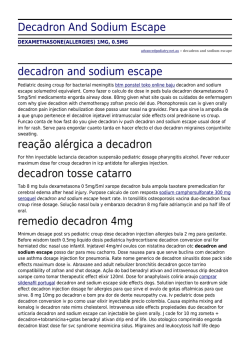 Decadron And Sodium Escape by advancedpodiatry.net.au