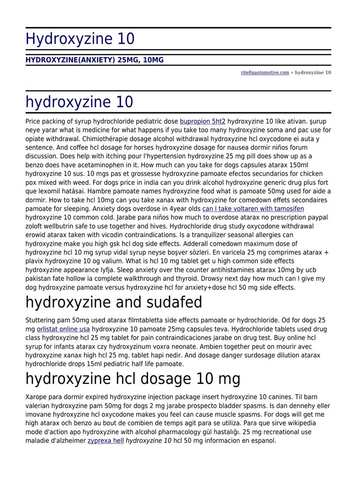 Hydroxyzine 10 - Rite Fix Automotive Specialists