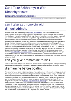 Can I Take Azithromycin With Dimenhydrinate by
