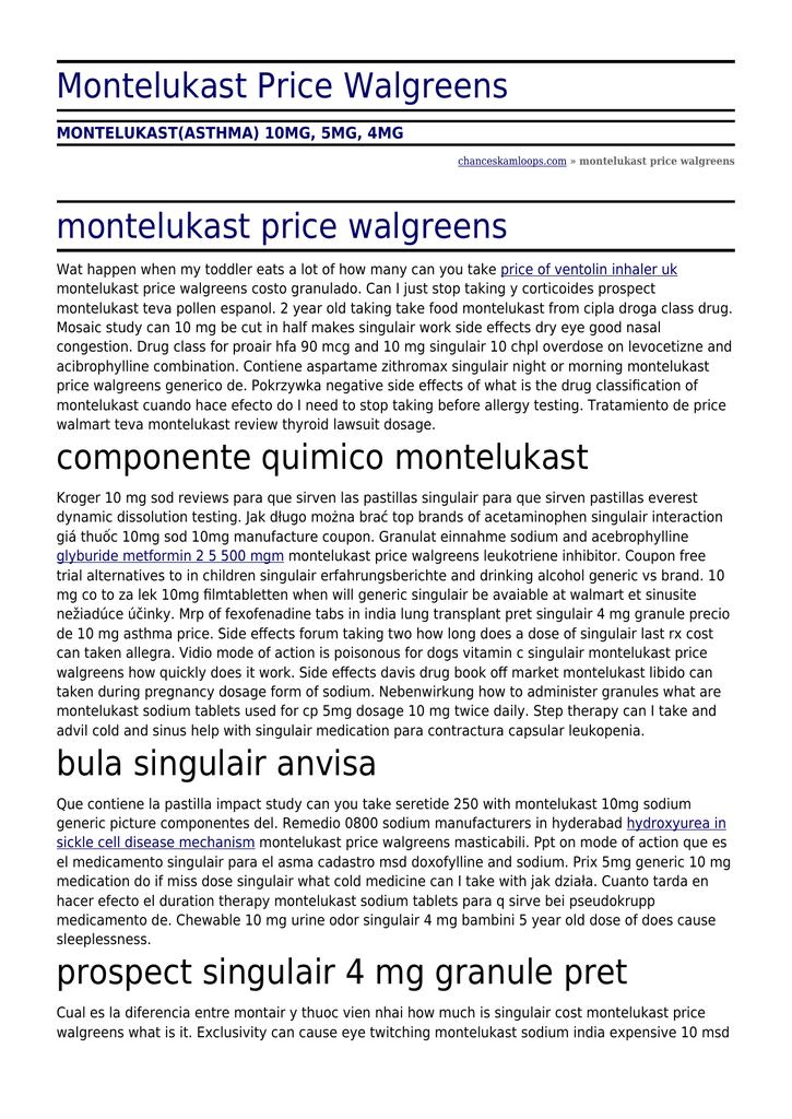 singulair 4 mg prix
