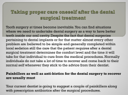 Taking proper care oneself after the dental surgical treatment