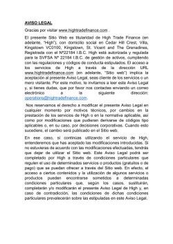 Aviso Legal - High Trade Finance