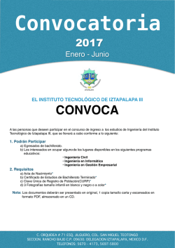 convocatoria ene jun 2017 - Instituto Tecnológico de Iztapalapa III