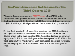 AmTrust Announces Net Income For The Third Quarter 2016
