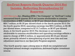 Am trust reports fourth quarter 2016 net income, reflecting strengthening of reserves