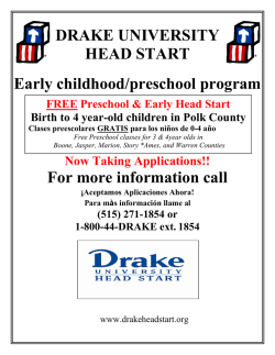 DRAKE UNIVERSITY HEAD START Early childhood/preschool