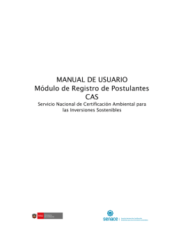 MANUAL DE USUARIO Módulo de Registro de