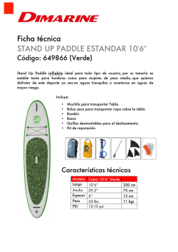 Ficha técnica STAND UP PADDLE ESTANDAR 10`6""
