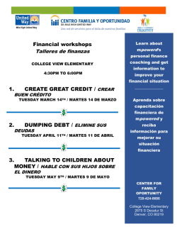 Financial workshops 1. CREATE GREAT CREDIT / CREAR 2