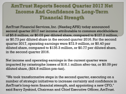 AmTrust Reports Second Quarter 2017 Net Income And Confidence In Long-Term Financial Strength