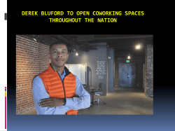 Derek Bluford to open Coworking spaces throughout the nation