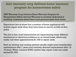 Amt warranty corp delivers home warranty program for homeowners safety