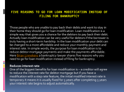 Five Reasons to go for Loan Modification Instead of Filing for Bankruptcy