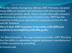 Amt warranty corp an ideal solution for manufacturers