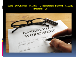 Some important things to remember before filing bankruptcy