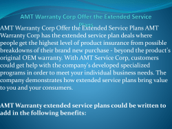 AMT Warranty Corp Offer the Extended Service Plans