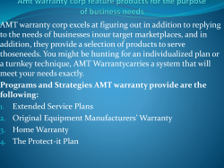 Amt warranty corp feature products for the purpose of business needs