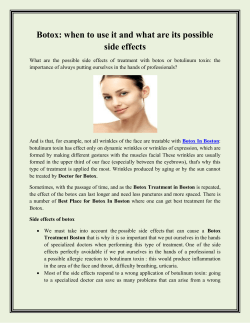 Botox when to use it and what are its possible side effects