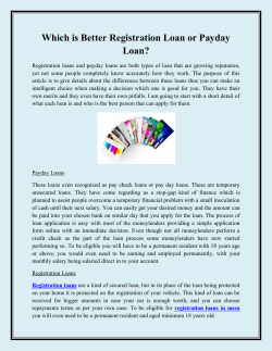 Which is Better Registration Loan or Payday Loan