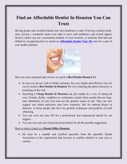 Find an Affordable Dentist In Houston You Can Trust