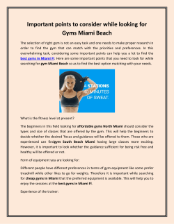 Important points to consider while looking for Gyms Miami Beach