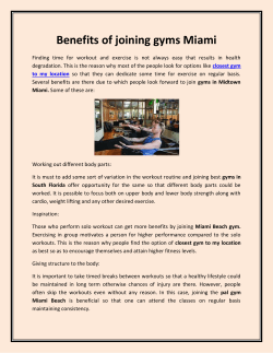 Benefits of joining gyms Miami