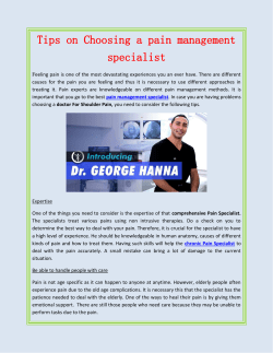 Tips on Choosing a pain management specialist