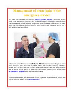 Management of acute pain in the emergency service