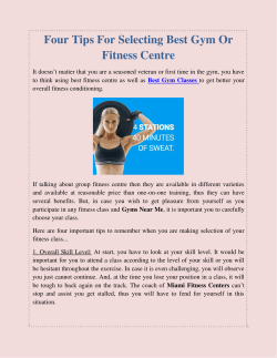 Four Tips For Selecting Best Gym Or Fitness Centre