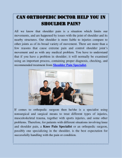 Can Orthopedic Doctor Help You In Shoulder Pain