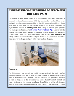 Understand various kinds Of Specialist for Back Pain