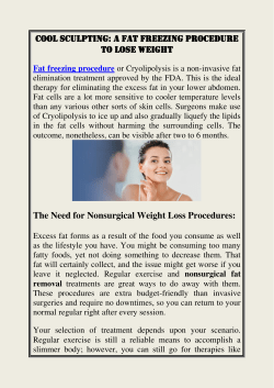 Cool Sculpting A Fat Freezing Procedure To Lose Weight