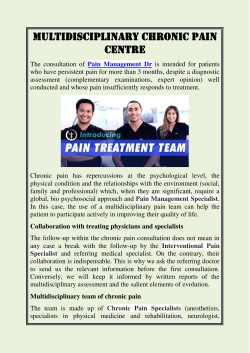 Multidisciplinary Chronic Pain Centre