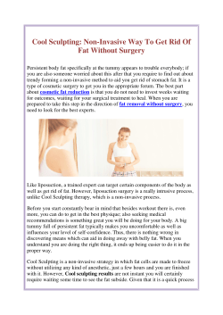 Cool Sculpting Non-Invasive Way To Get Rid Of Fat Without Surgery